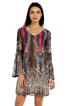 BOHO PRINT V-BACK CHIFFON SHIFT DRESS-Blue