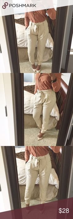 Casual High Waist Trousers!!! Jogger style trousers featuring front pleating, functioning side and back pockets, fabric belt, and cute accent buttons on ankle!! Can be dressed up or down! Gently used condition! Size xsmall but can admit a normal small! Brand is Vila sold at ASOS. Asos Pants