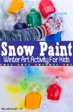 How to make homemade snow paint to paint the snow bright colors ( Winter Activities For Kids, Winter Crafts For Kids, Winter Kids, Winter Art, Winter Theme, Snow Theme, Homemade Paint, How To Make Homemade, Painting For Kids