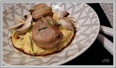 recette Filet mignon de porc laqué au miel et soja, polenta crémeuse aux champignons