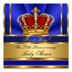 Prince Royal Blue Boy Baby Shower Red Gold Crown Invitation
