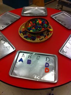 """Magnetic letter sort from Connie Lowe ("""",) Preschool Centers, Kindergarten Literacy, Early Literacy, Preschool Classroom, Preschool Learning, Early Learning, Teaching Kids, Art Activities For Toddlers, Alphabet Activities"""