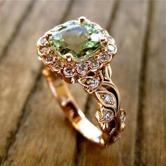 Mint Green Chrysoberyl Engagement Ring in Rose Gold with Diamonds in Flower Buds and Leafs on Vine Size 7 Vintage Inspired Engagement Rings, Floral Engagement Ring, Bridal Jewelry, Jewelry Gifts, Jewellery, Custom Jewelry Design, Fantasy Jewelry, Ring Verlobung, Beautiful Rings
