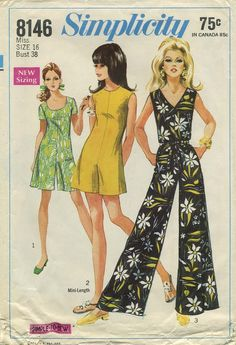 Vintage Sewing Pattern | Jumpsuit | Simplicity 8146 | Year 1969 | Bust 38 | Waist 29 | Hip 40