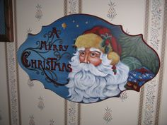 Pipka tole painted plaque Christmas Signs, Diy Christmas Gifts, Merry Christmas, Christmas Decorations, Christmas Ornaments, Santa Clus, Painted Plates, Pintura Country, Country Paintings