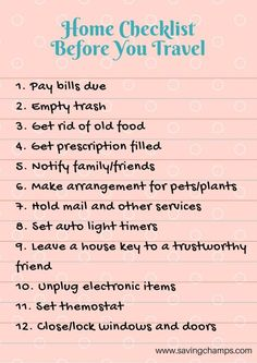 Travel checklists are essential for gaining peace of mind and saving time and money. These three travel checklists can help you better plan your trip, save money on travel. Tips on saving money and living a frugal life. Travel checklist home Travelling Tips, Packing Tips For Travel, Travel Advice, Travel Essentials, Travel Hacks, Travel Ideas, Traveling, Packing Checklist, Vacation Packing