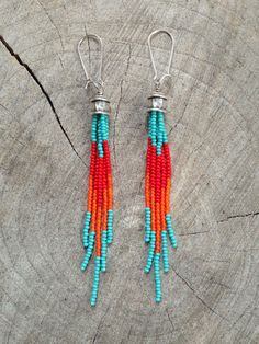 Boho Earrings Fringe Seed Bead Earrings by WildHoneyPieDesign Beaded Necklace Patterns, Beaded Tassel Earrings, Fringe Earrings, Beaded Earrings, Hoop Earrings, Silver Earrings, Seed Bead Bracelets, Seed Bead Jewelry, Beaded Jewelry