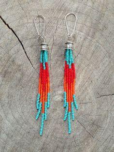 Boho+Earrings,+Fringe+Seed+Bead+Earrings,+Tassel+Earrings,+Fringe+Earrings,+Long+Seed+Bead+Earrings
