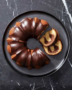 Vanilla Bundt Cake with Chocolate-Cream Cheese Filling. We like to think of this spectacular dessert as a giant vanilla pound cake stuffed with chocolate cheesecake. A shiny chocolate ganache glaze makes it stand out even more. Chocolate Ganache Glaze, Chocolate Bundt Cake, Chocolate Cream Cheese, Chocolate Filling, Chocolate Cheesecake, Decadent Chocolate, Chocolate Desserts, Cake Recipes, Dessert Recipes
