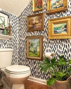 Powder Room Makeover Inspiration - A Stroll Thru Life Half Bathroom Decor, Downstairs Bathroom, Bathroom Interior, Half Bathrooms, Half Bath Decor, Bathroom Ideas, Bathroom Artwork, Colorful Bathroom, Eclectic Bathroom