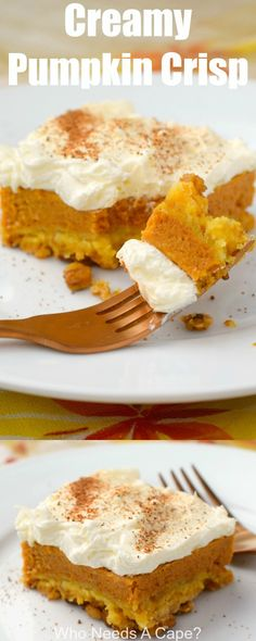 Creamy Pumpkin Crisp Creamy Pumpkin Crisp a delicious dessert change from traditional pumpkin pie. Serve at Thanksgiving or Christmas you'll love the layers of flavor. Köstliche Desserts, Delicious Desserts, Dessert Recipes, Yummy Food, Southern Desserts, Blueberry Desserts, Healthy Desserts, Pumpkin Recipes, Fall Recipes