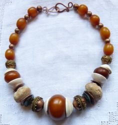 Fossilized Sea Urchin, Mauretanian Shell and African Amber Necklace