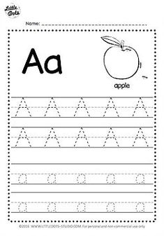 Free Letter A Tracing Worksheets Free Printable Alphabet Worksheets, Abc Tracing, Pre K Worksheets, Alphabet Tracing Worksheets, Kindergarten Worksheets, Preschool Printables, Kindergarten Class, Tracing Letters, Preschool Alphabet