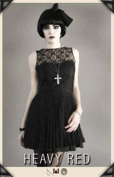 Perfectly Dark Pleats & Lace Dark Party dress by Heavy Red