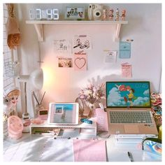 Cute Room Ideas, Cute Room Decor, Bedroom Desk, Room Ideas Bedroom, Home Office Design, Home Design, Desk Inspiration, Desk Inspo, Pink Desk