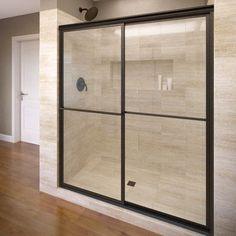 "Basco Deluxe 71.5"" x 47"" Framed Bypass Sliding Shower Door Trim Finish: Oil Rubbed Bronze, Glass Type: Clear"