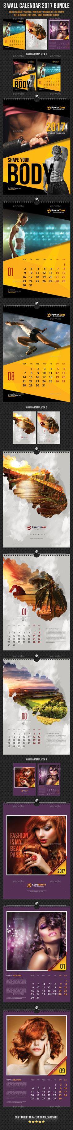 3 Creative Wall Calendar 2017 Templates PSD