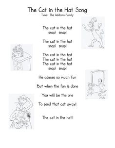The Cat in the Hat! Cat in the Hat Song & Activities (from Kindergarten Nana): Dr. Seuss, Dr Seuss Week, Songs For Toddlers, Lesson Plans For Toddlers, Kids Songs, Kids Music, Preschool Music, Preschool Themes, Preschool Lessons