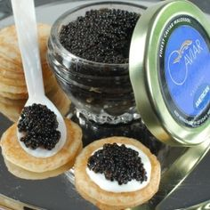 American Bowfin Caviar Gift Set – with spoon « Holiday Adds Gourmet Food Store, Gourmet Gifts, Food Gifts, Gourmet Recipes, Osetra Caviar, Wine Parties, Great Recipes, Seafood, Yummy Food