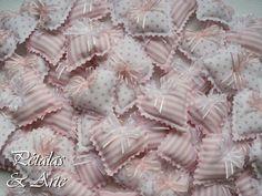 Sache Mini Coração Rosa e Branco  Mini sache perfumado, confeccionado como lembrancinha.