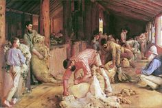 Tom Roberts Shearing the Rams, 1890 Oil on canvas on composition board, m m National Gallery of Victoria, Australia Australian Painting, Australian Artists, Australian Icons, Australian Vintage, Australian Bush, Vincent Van Gogh, Sheep Shearing, Toms, National Gallery