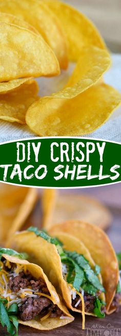DIY Crispy Taco Shells - easy step by step instructions will have you eating delicious, crunchy tacos tonight! Mexican Dishes, Mexican Food Recipes, Beef Recipes, Cooking Recipes, Yummy Recipes, Dinner Recipes, Nachos, My Favorite Food, Favorite Recipes