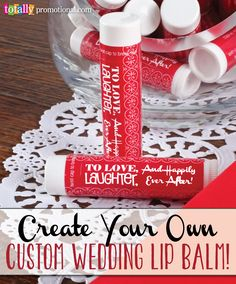 Customize lip balm with your information to create a wedding favor your guests will never leave h Wedding 2017, Diy Wedding, Fall Wedding, Wedding Gifts, Dream Wedding, Wedding Stuff, Wedding Shower Favors, Bridal Shower, Cute Wedding Ideas