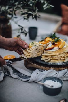 Gluten-free Crepe Cake with Peach Passion Fruit Jam and Cream Cheese Filling and Fresh Peach and Citrus