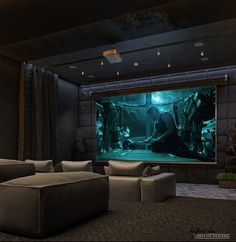home theater on Behance Home Theater Room Design, Home Cinema Room, Home Theater Rooms, Home Theater Seating, Home Office Shelves, Home Movies, Home Cinemas, Shops, Dream Rooms