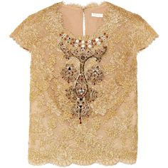 17fdb88d78 Reem Acra Embellished cotton-blend lace and tulle top ( 1