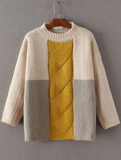 Shop Color Block Cable Knit Drop Shoulder Sweater online. SheIn offers Color Block Cable Knit Drop Shoulder Sweater & more to fit your fashionable needs.