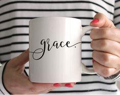 Grace Mug - 11 OR 15 ounce encouraging mug coffee mug ceramic mug gifts for her unique mugs cute coffee mugs christmas mug (16.00 USD)