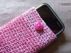 Custodia per cellulare smartphone Rosa - Bianco realizzato con filato di cotone, lavorazione uncinetto. By EmmaJewelsShop #italiasmartteam #etsy