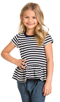 Shop for The Great The Little Ruffle Tee in Navy & Cream Stripe at REVOLVE. Free day shipping and returns, 30 day price match guarantee. Navy, Tees, Shopping, Cream, Women, Fashion, Hale Navy, Creme Caramel, Moda