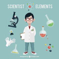 Elementos del laboratorio. Científico. Fondo azul.
