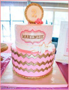 pink and gold chevron birthday cake | Yummy Food!