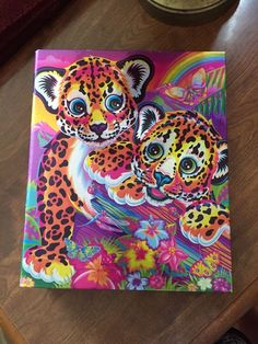 Lisa Frank 3 Ring Binder Rainbow Shimmery Cheetah / Leopard Baby Cubs #LisaFrank
