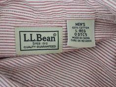L.L. BEAN SEERSUCKER SHIRT Sz L Red & White Striped 100% Cotton LS Button-Down   #LLBEAN #ButtonFront