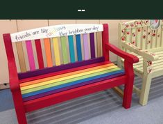 Friendship bench for playground, designed and painted with children from & . - Friendship bench for playground, designed and painted with children from & … - Preschool Playground, Preschool Garden, Playground Games, Playground Design, Outdoor School, Outdoor Classroom, Classroom Decor, Playground Painting, Buddy Bench