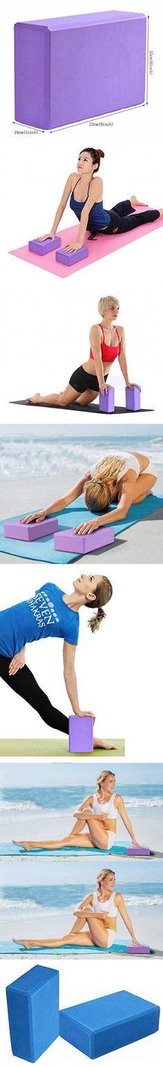 "Hynice Yoga Block 2 Pack Made Of Eco Friendly Foam Slip Resistant 9""x6""x4"" (Blue, 9x6x4) #yogablocks"