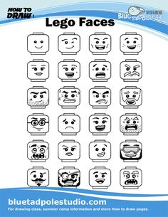 Learn To Draw Blue Tadpole Studio - How to draw Lego Disney, Lego Minecraft, Lego Lego, Lego Batman, Minecraft Skins, Minecraft Buildings, Lego Portrait, Lego Faces, Art For Kids