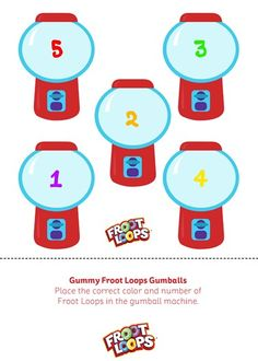 Gummy Froot Loops Gumballs helps your kids learn counting and colors.