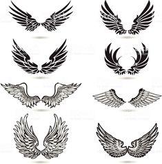 Wings Illustration royalty-free wings illustration stock vector art & more images of angel Surf Tattoos, Biker Tattoos, Body Art Tattoos, Sleeve Tattoos, Tatoos, Tattoo Cou, Cross With Wings Tattoo, Wing Tattoo Designs, Wings Design