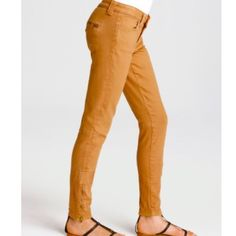 """♥FLASHSALE♥️Vince Zip Zips Vince """"zip-zip""""pants in Camel.  Pants have gold zippers closures on back pockets and gold zippers at ankles so they can be worn zipped or unzipped. Great with boots in the winter and flats or sandals when it's warmer. They are amazing! I got them in a different size so I'm parting with these These cropped twill pants feature hip pockets and zip back pockets. Seam detailing throughout and exposed zip at ankles. Single-button closure. 10"""" leg opening. SOLD OUT…"""