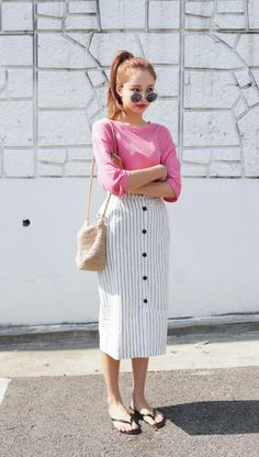 Striped Button Linen Skirt #koreanfashion #90s #streetstyle