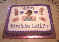 Doc McStuffins Birthday Cake - 11 x 15 sheet cake with butter cream, eddible image and mmf accents