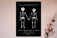 """""""Until Death"""" - Whimsical & Funny Save The Date Cards in Golden by Katie Zimpel."""