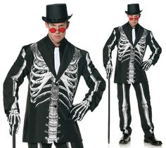 Mens Day of The Dead Skeleton Suit Halloween Costume | eBay