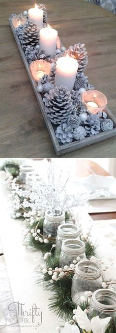 27 gorgeous & easy DIY Thanksgiving and Christmas table decorations & centerpieces! Most can be made in less than 20 minutes, from things you already have! - A Piece of Rainbow  DIY Decor, holiday, diy, #christmas  christmas decor, #christmasideas #thanksgiving #homedecor  home decor ideas, crafts, #farmhouse  vintage style, farmhouse kitchen, #farmhousedecor #rusticdecor #partyideas #centerpiece #tabledecor