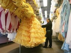 Magical Closet of Face Character Costumes    The ballgowns worn by each princess are made up of numerous pieces, each of which is carefully dis-assembled after use, carefully cleaned, and each piece is then sent back to the costume warehouse to be categorised and stored, ready for check out by the next face character cast member.